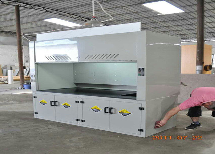School Science Lab Fume Hood 8-10mm Benchtops Seamless Welding Cabinet for pp fume hood